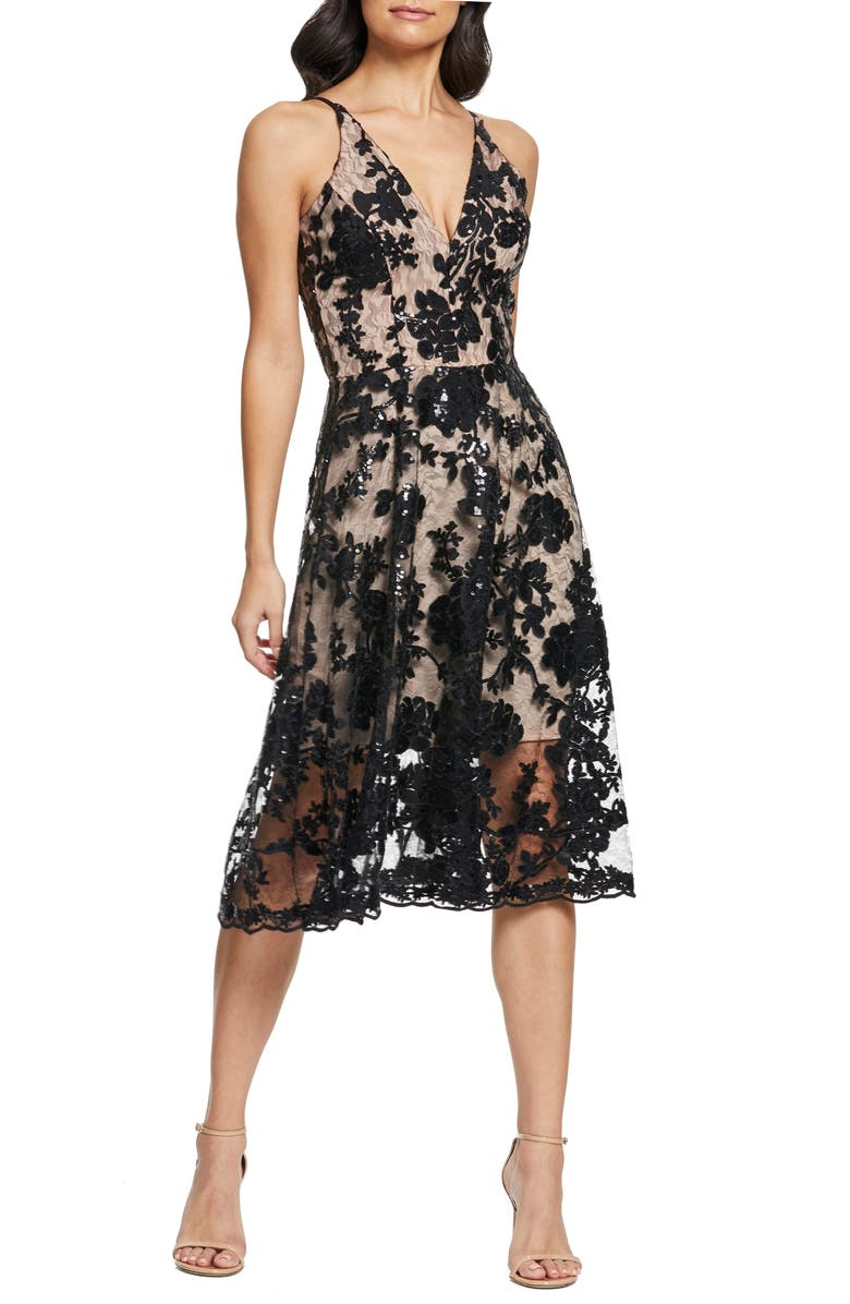 DRESS THE POPULATION Maria Embellished Fit & Flare Dress, Main, color, 002