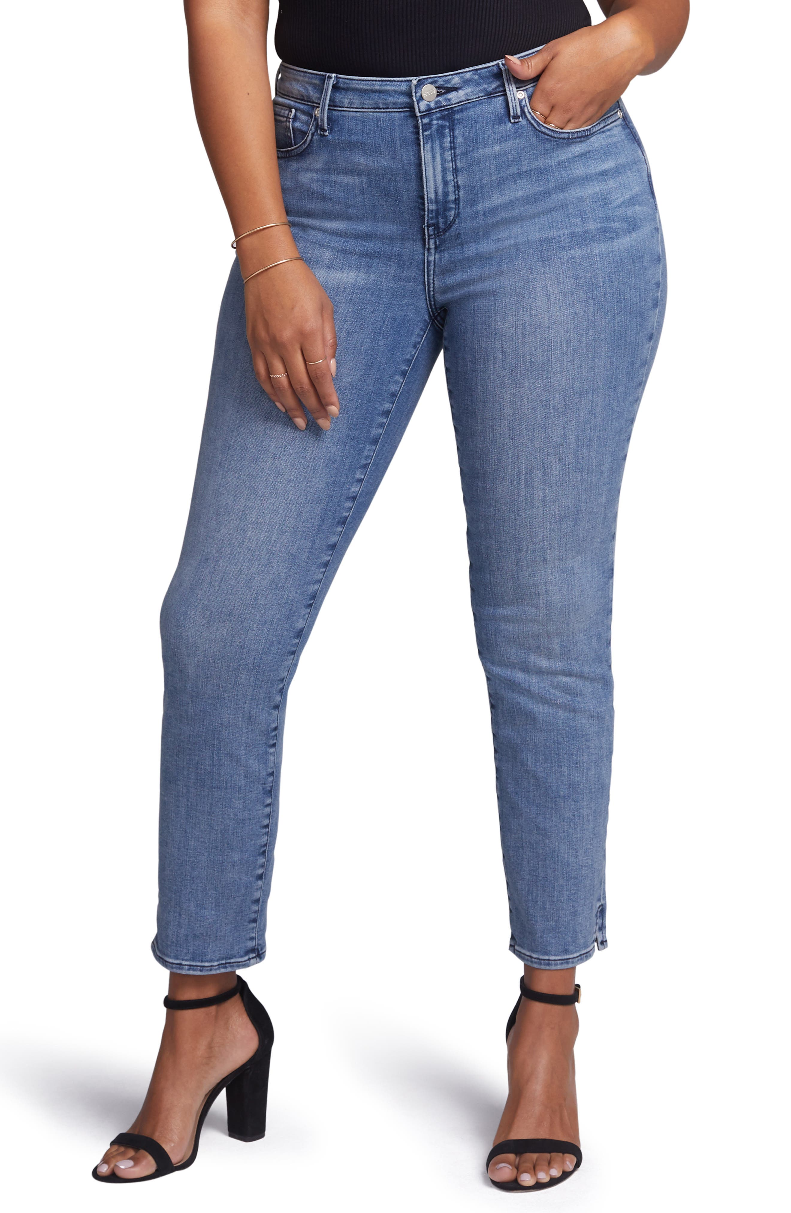 ,                             Slim Ankle Straight Leg Jeans,                             Alternate thumbnail 4, color,                             AQUINO
