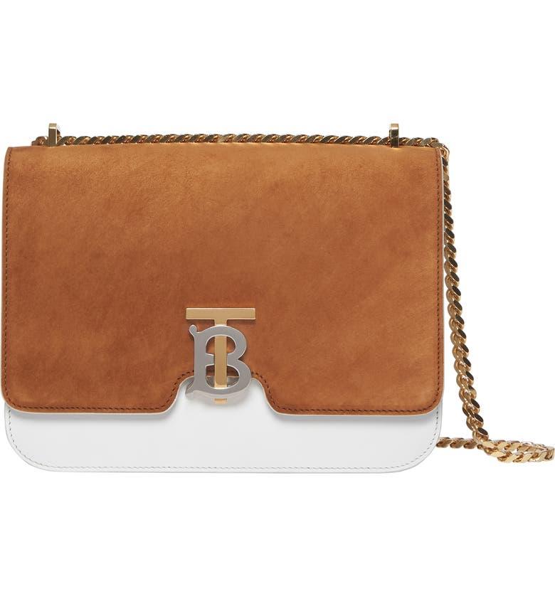 BURBERRY Medium TB Two-Tone Leather Shoulder Bag, Main, color, DARK COPPER BROWN/ CHALK WHITE