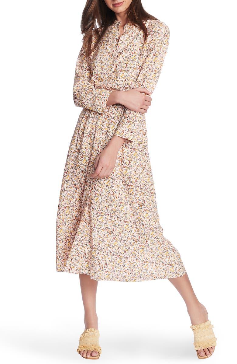 COURT & ROWE Woodland Ditzy Long Sleeve Midi Shirtdress, Main, color, VINTAGE IVORY MULTI