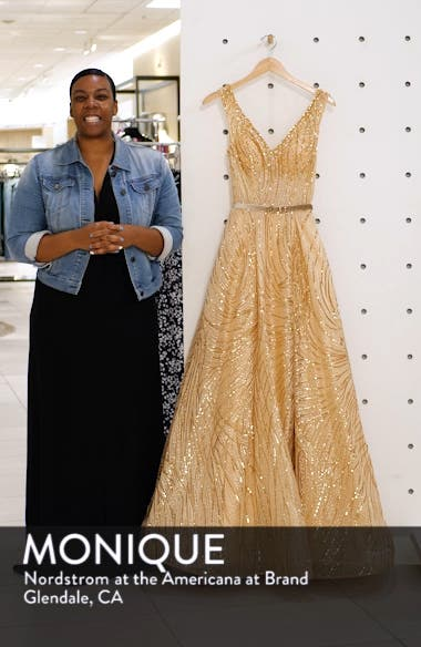 Cat Tail Sequin V-Neck Prom Dress, sales video thumbnail
