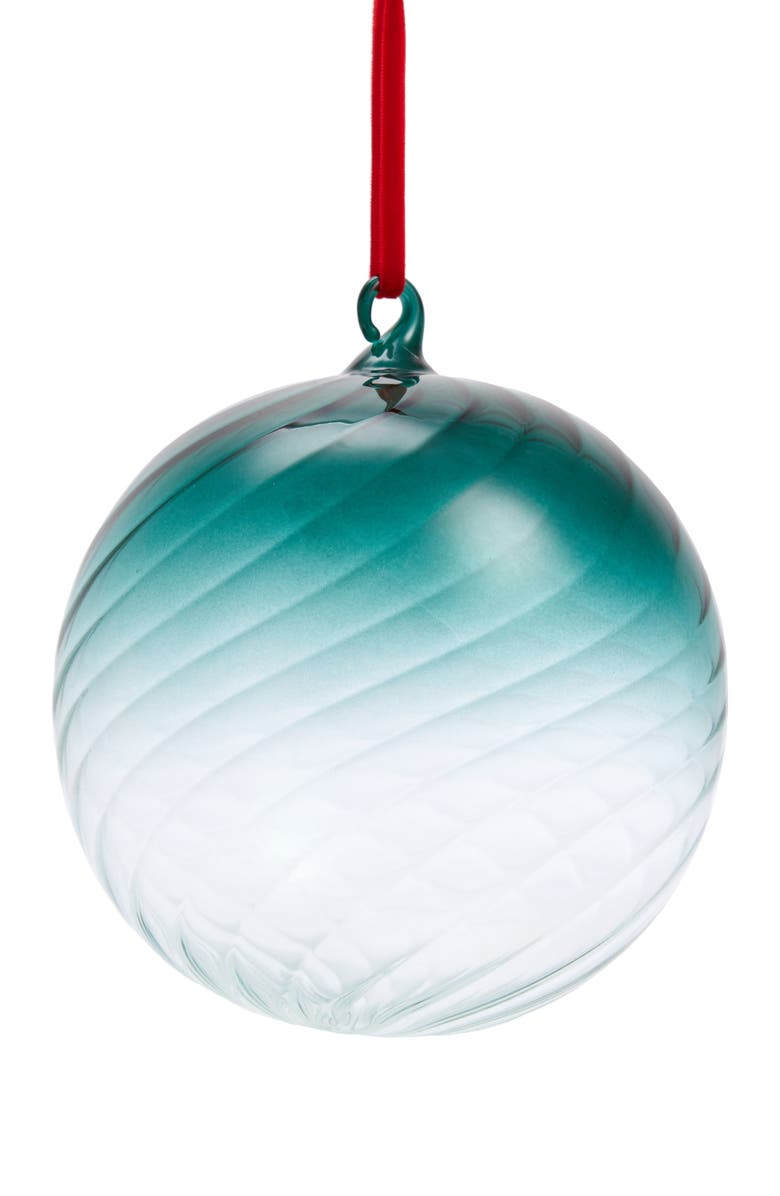 RACHEL PARCELL Swirl Glass Ornament, Main, color, GREEN BOTANICAL