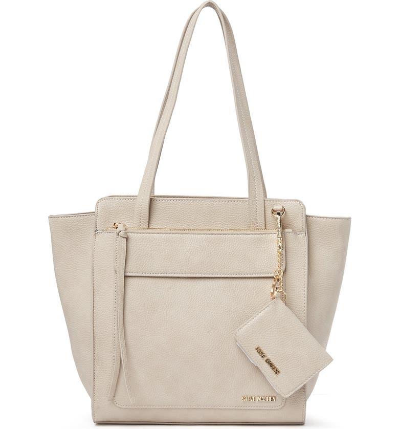 STEVE MADDEN Myra Shopper Tote Bag, Main, color, LIGHT GREY