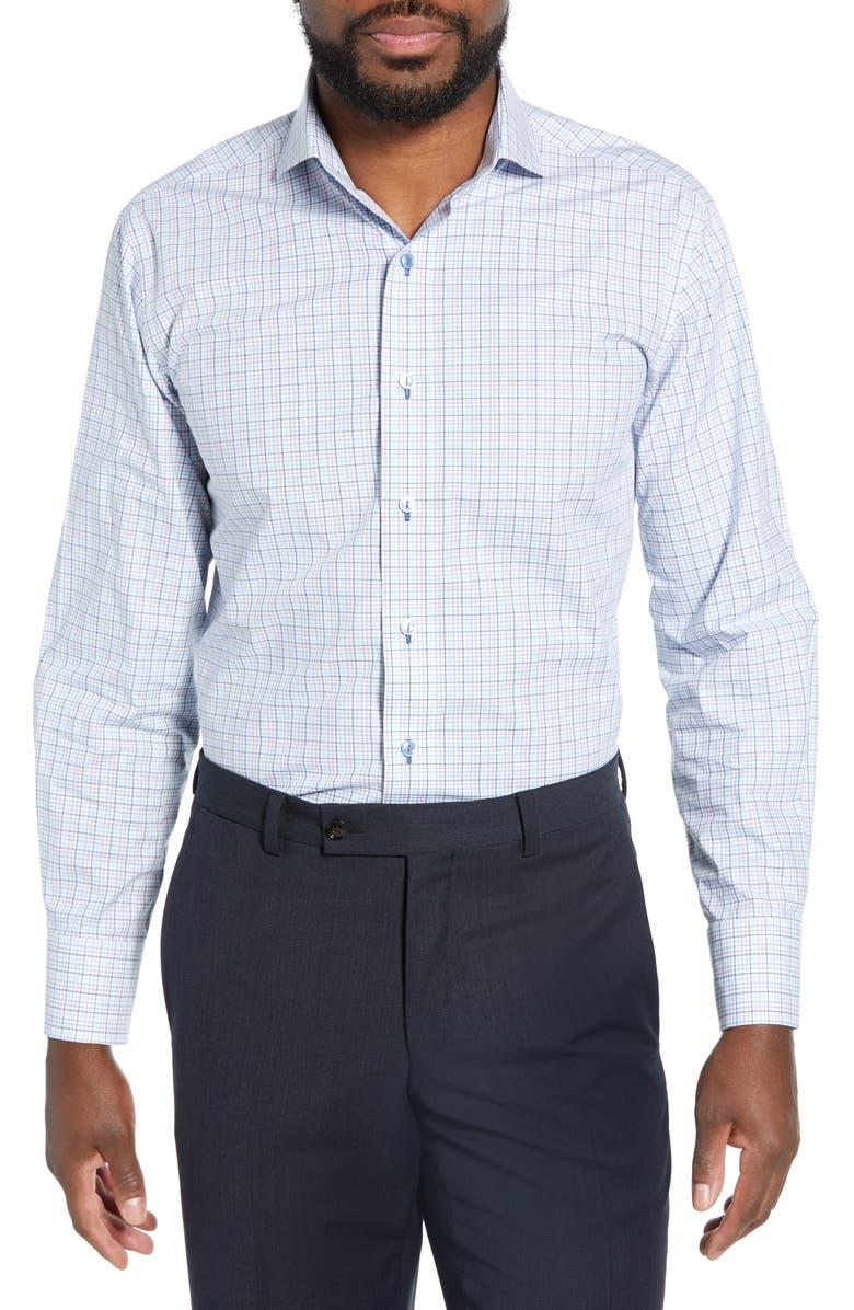 LORENZO UOMO Trim Fit Plaid Dress Shirt, Main, color, 420