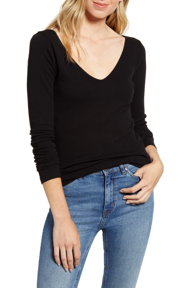 STATESIDE Ribbed V-Neck Long Sleeve Tee, Main, color, 001