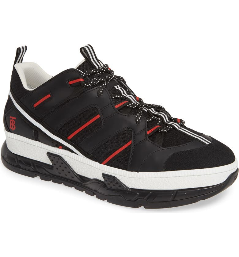 BURBERRY Union Sneaker, Main, color, BLACK / RED