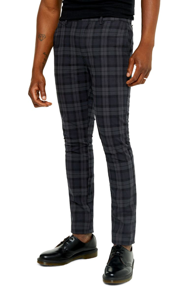 TOPMAN Watch Check Skinny Fit Pants, Main, color, 001