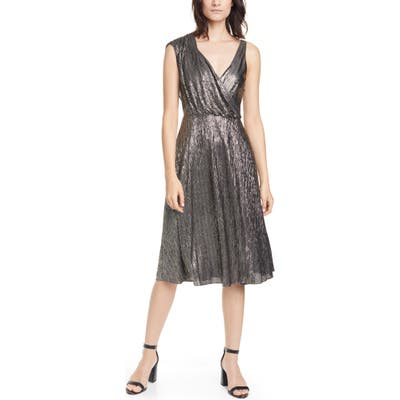 Alice + Olivia Roxy Metallic Drape Front Sleeveless Midi Dress, Black