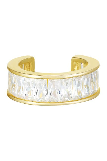 Image of Sphera Milano 14K Yellow Gold Plated Sterling Silver Baguette-Cut CZ Ear Cuff