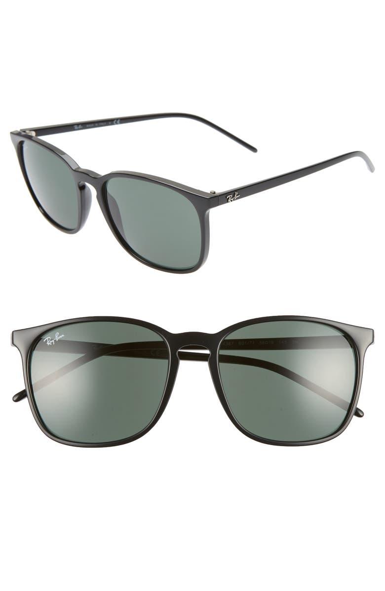 RAY-BAN Phantos 56mm Sunglasses, Main, color, BLACK