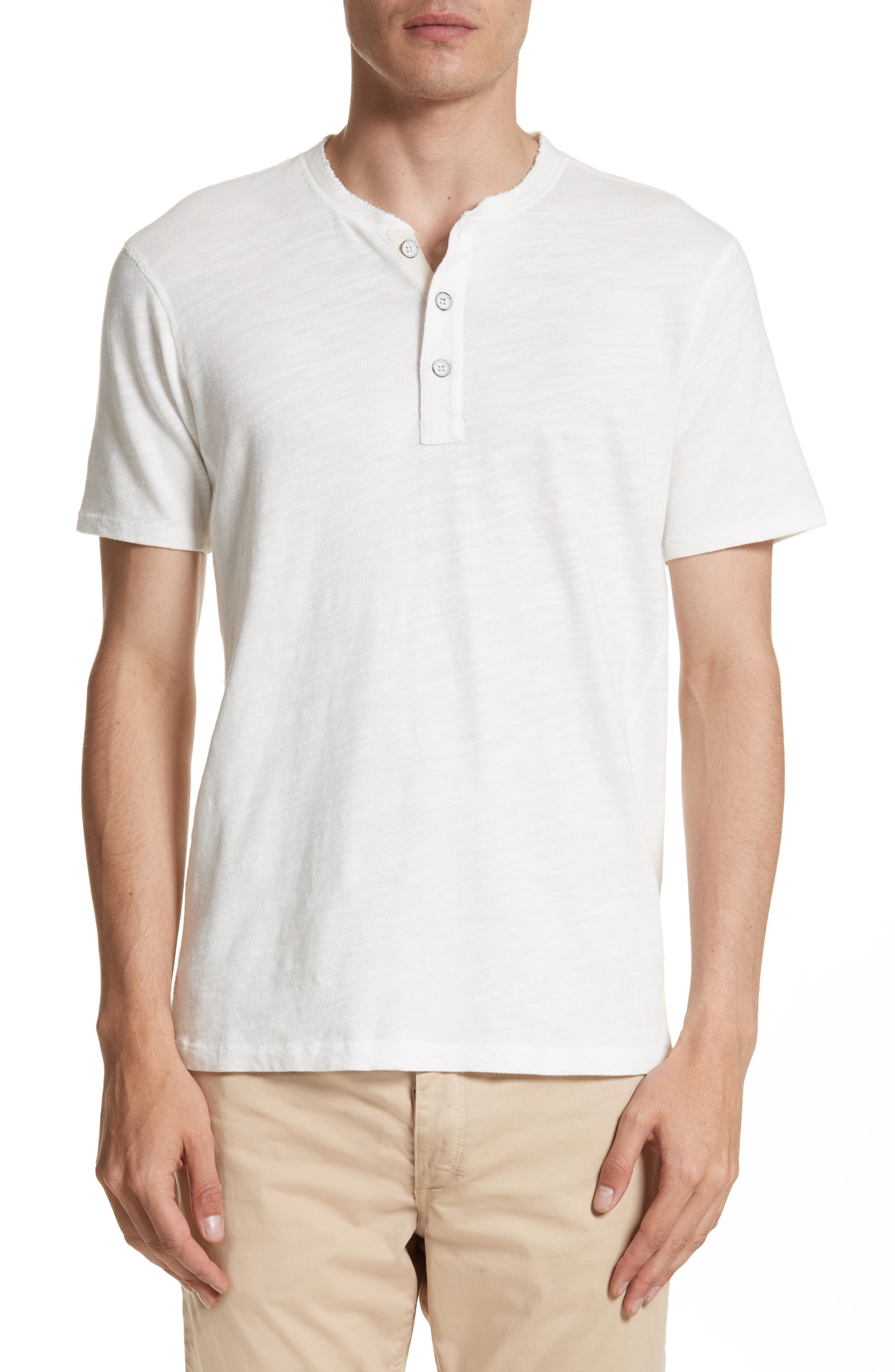 Slim Fit Henley, Main, color, WHITE