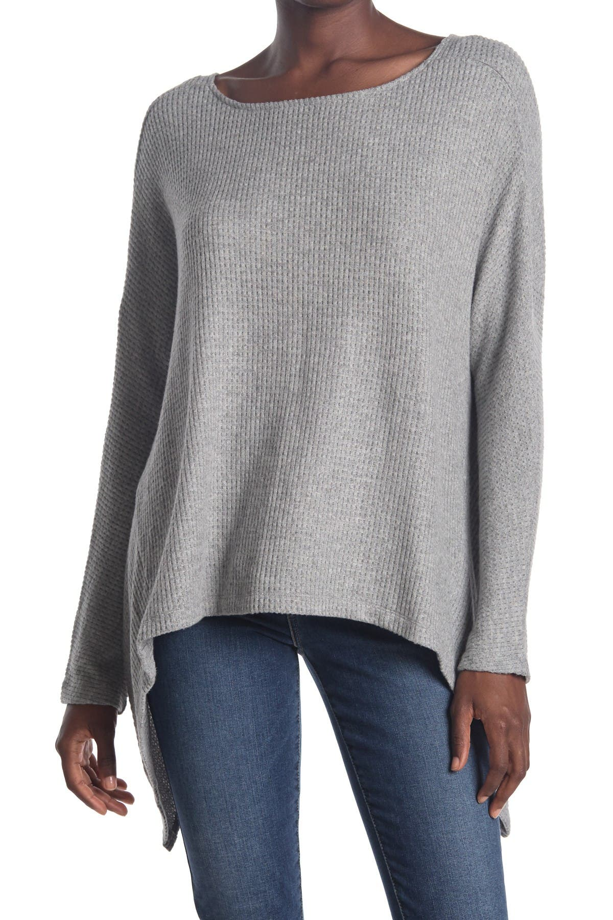 Image of 1.State Cozy Twist Back Waffle Knit Top