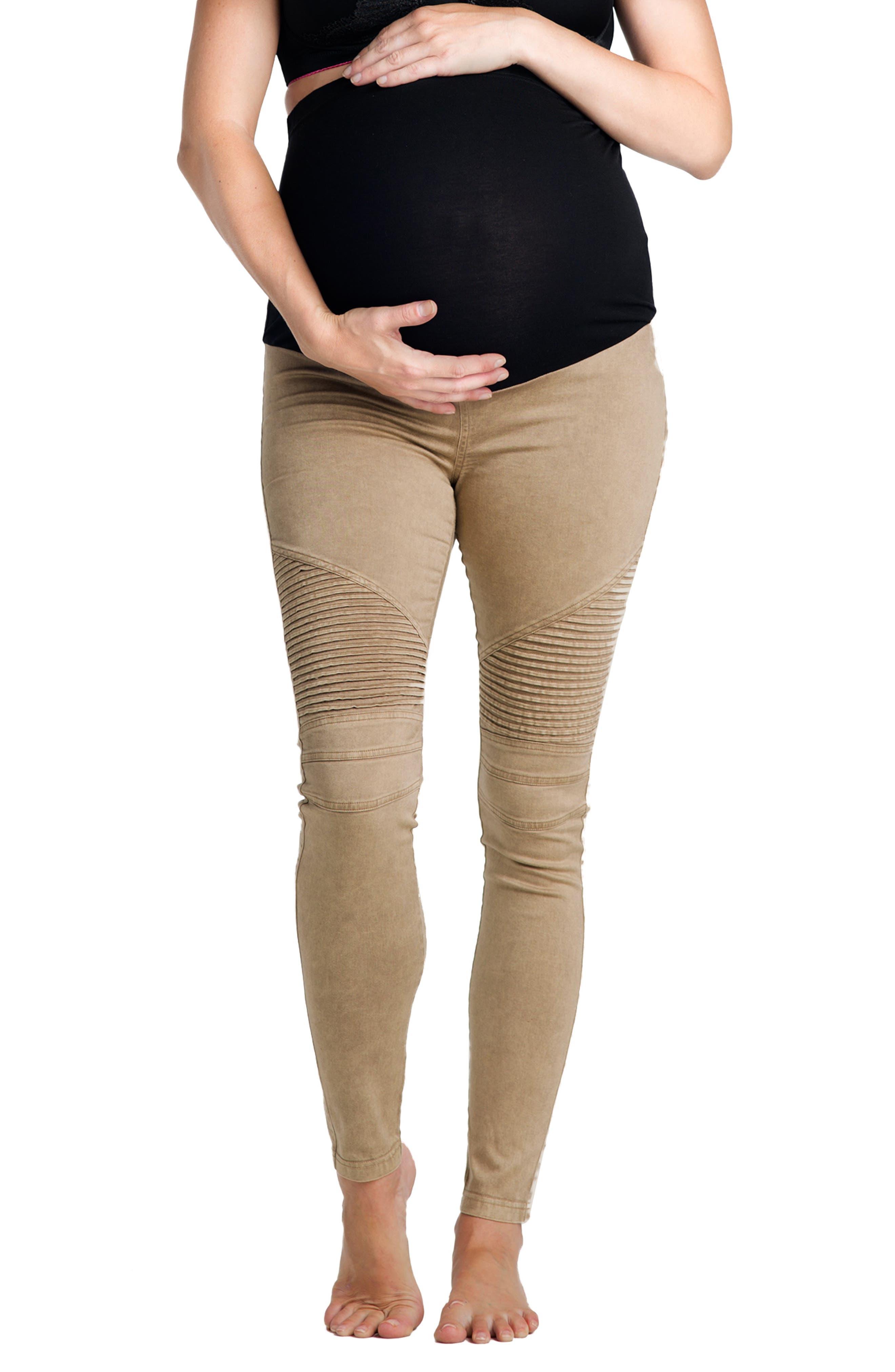 Preggo Leggings Moto Maternity Leggings, Brown