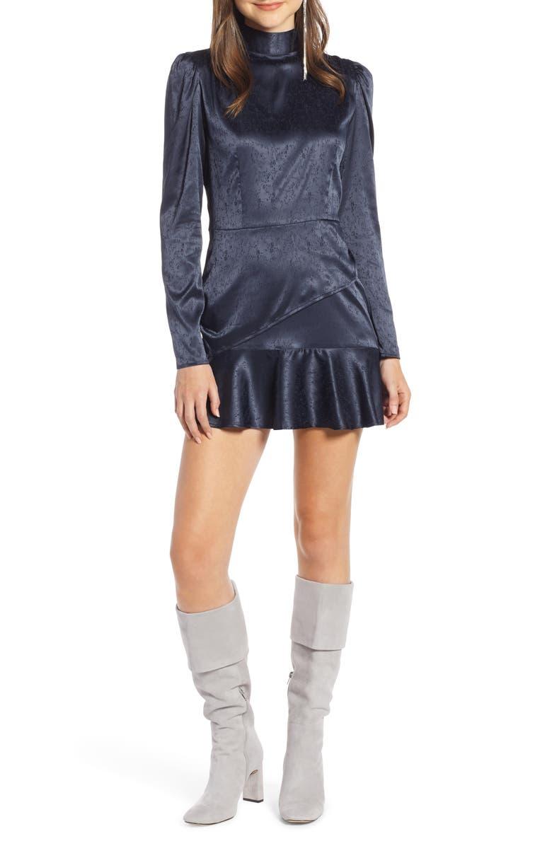 SOMETHING NAVY Ruffle Hem Minidress, Main, color, 401