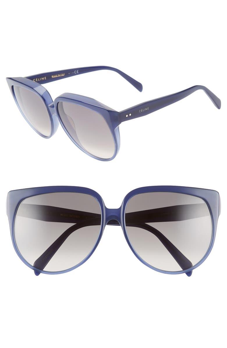 CELINE 62mm Special Fit Oversize Cat Eye Sunglasses, Main, color, 400