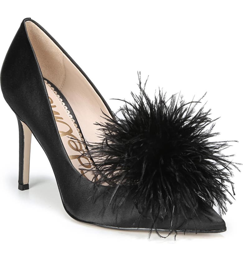 SAM EDELMAN Haide Feather Pompom Pump, Main, color, 001