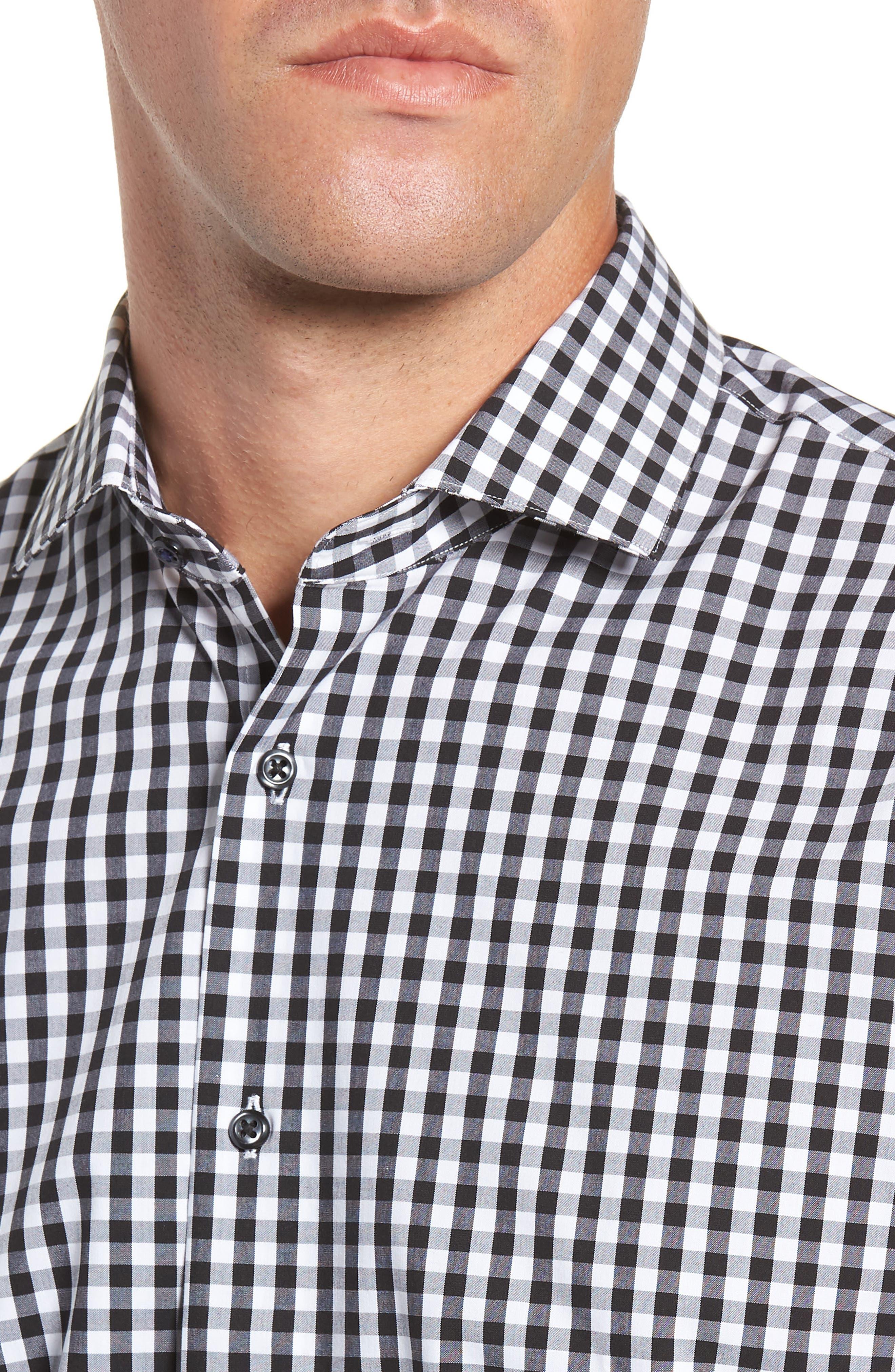,                             Tech-Smart Trim Fit Stretch Check Dress Shirt,                             Alternate thumbnail 2, color,                             001