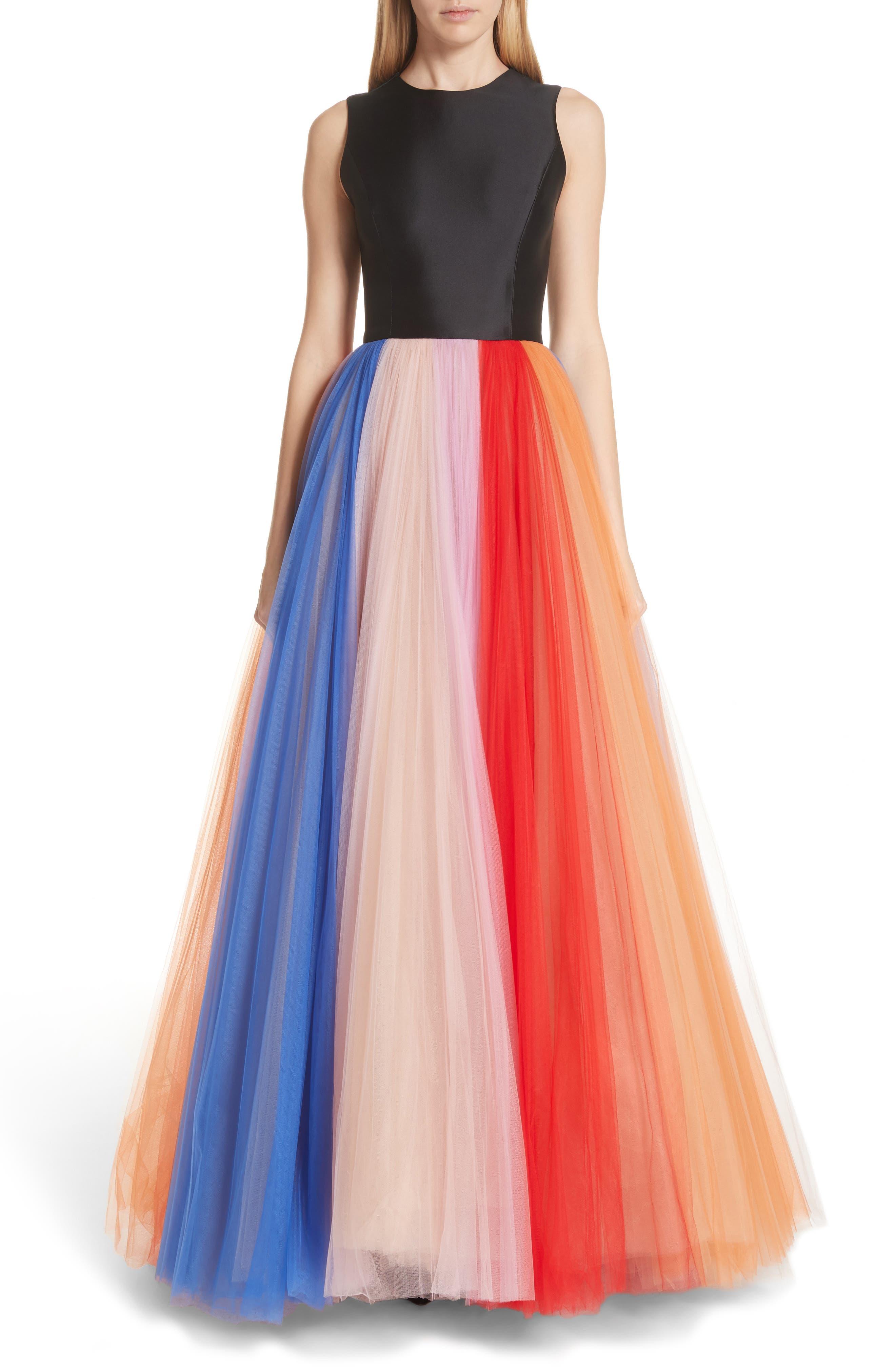 Carolina Herrera Colorblock Tulle Gown, Black