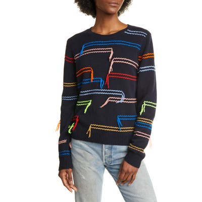 Chinti & Parker Horizontals Wool & Cashmere Sweater, Blue