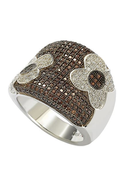 Image of Suzy Levian Sterling Silver Floral Chocolate CZ Ring