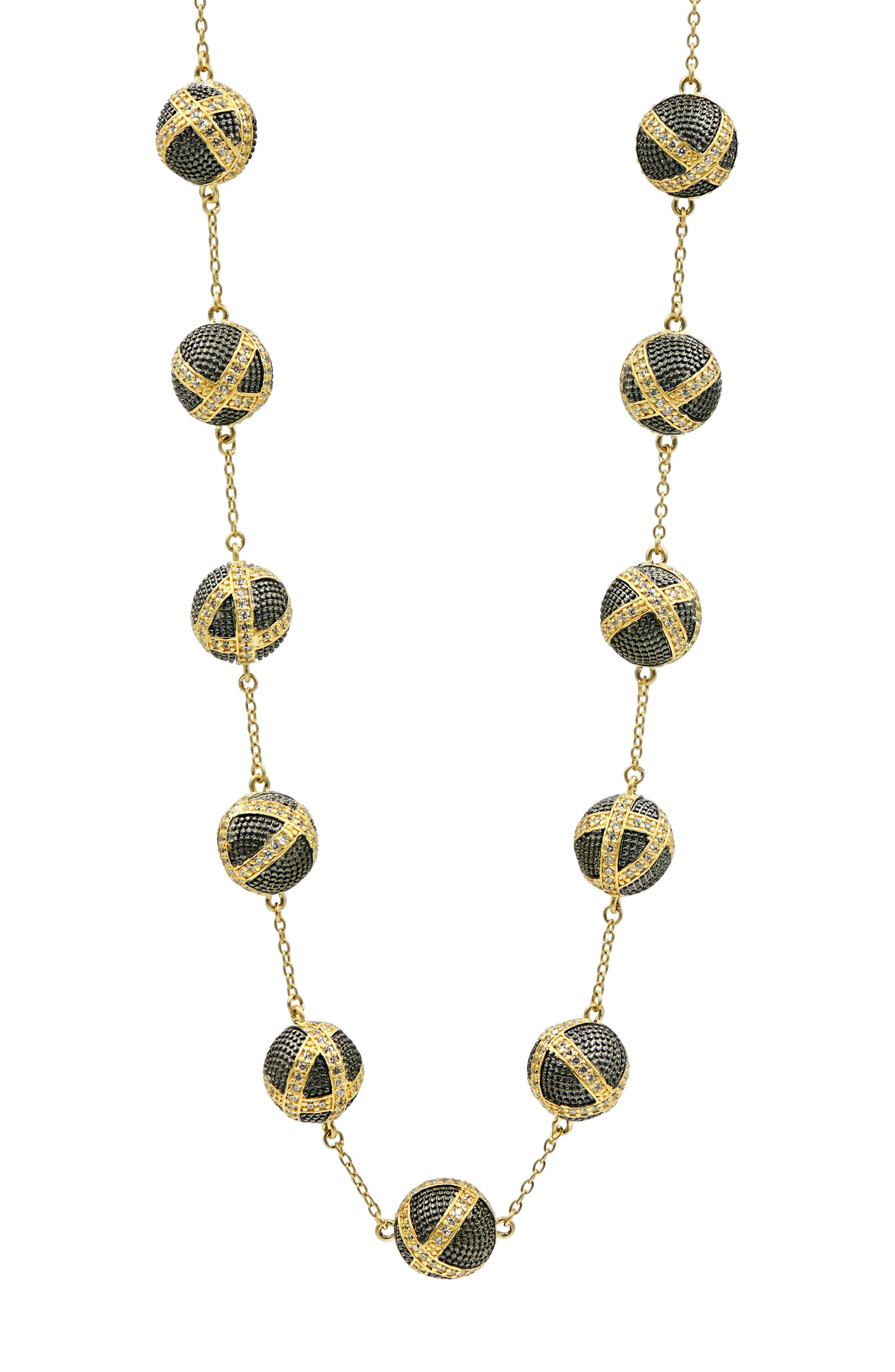 Image of Freida Rothman 14K Yellow Gold & Black Rhodium Plated Pave CZ Bauble Collar Necklace