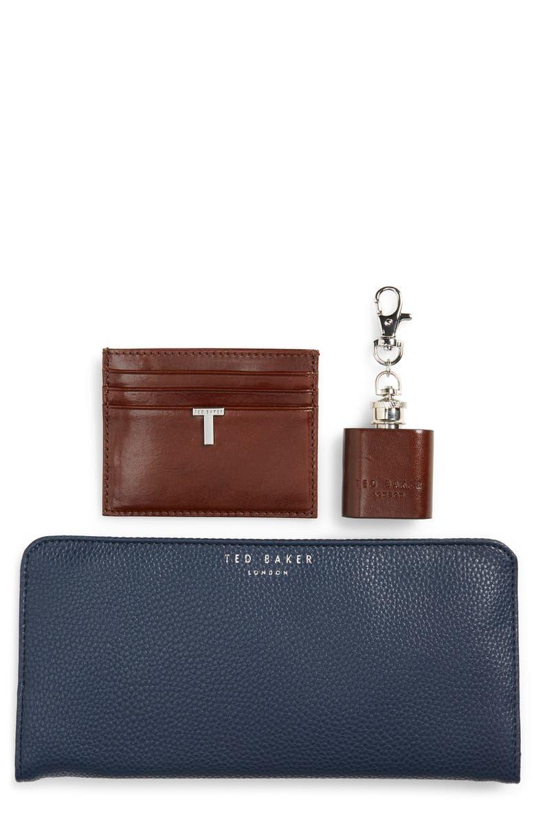 TED BAKER LONDON Hipp Card Case, Coin Tray & Hip Flask Set, Main, color, 217