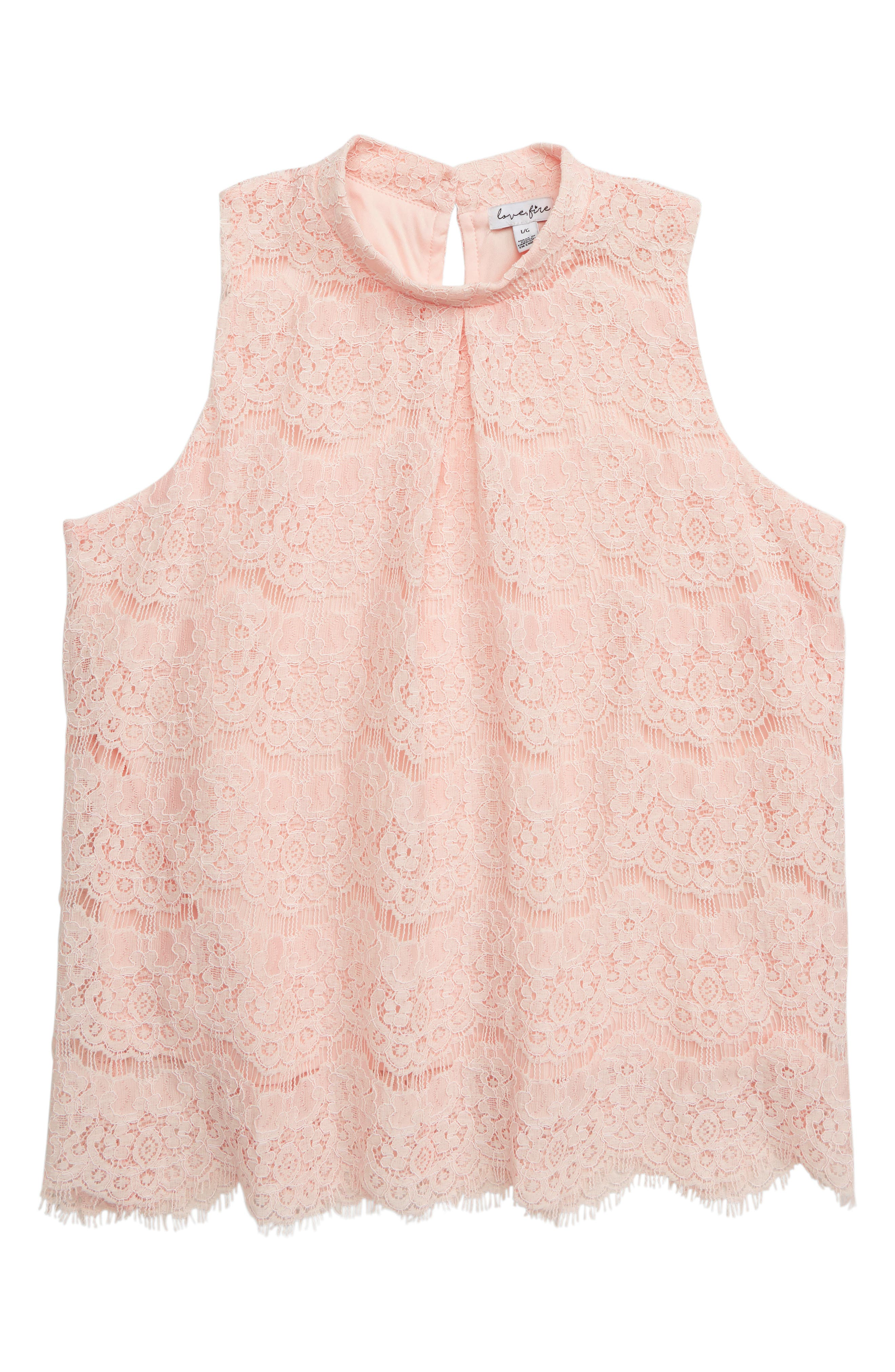 Mock Neck Lace Top, Main, color, LIGHT PINK