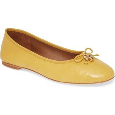 Tory Burch Logo Charm Ballet Flat, Yellow