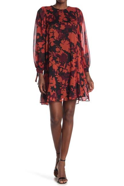 Image of Calvin Klein Floral Tie Cuff Dress