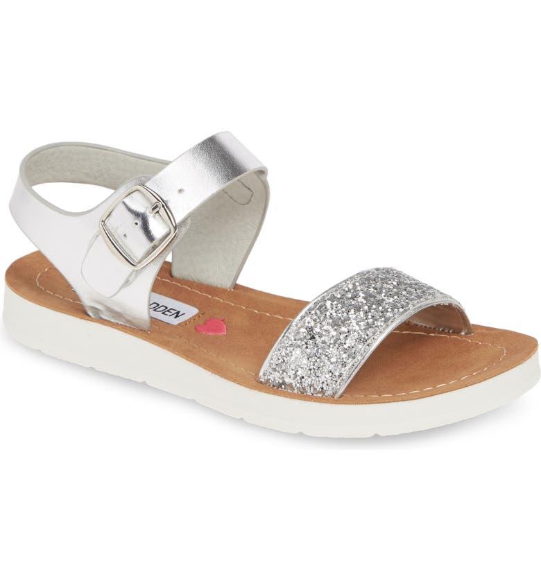 STEVE MADDEN JPROBLER Sandal, Main, color, SILVER GLITTER