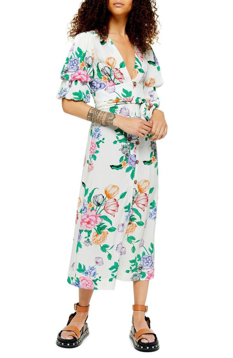 TOPSHOP Frieda Floral Print Midi Dress, Main, color, WHITE MULTI