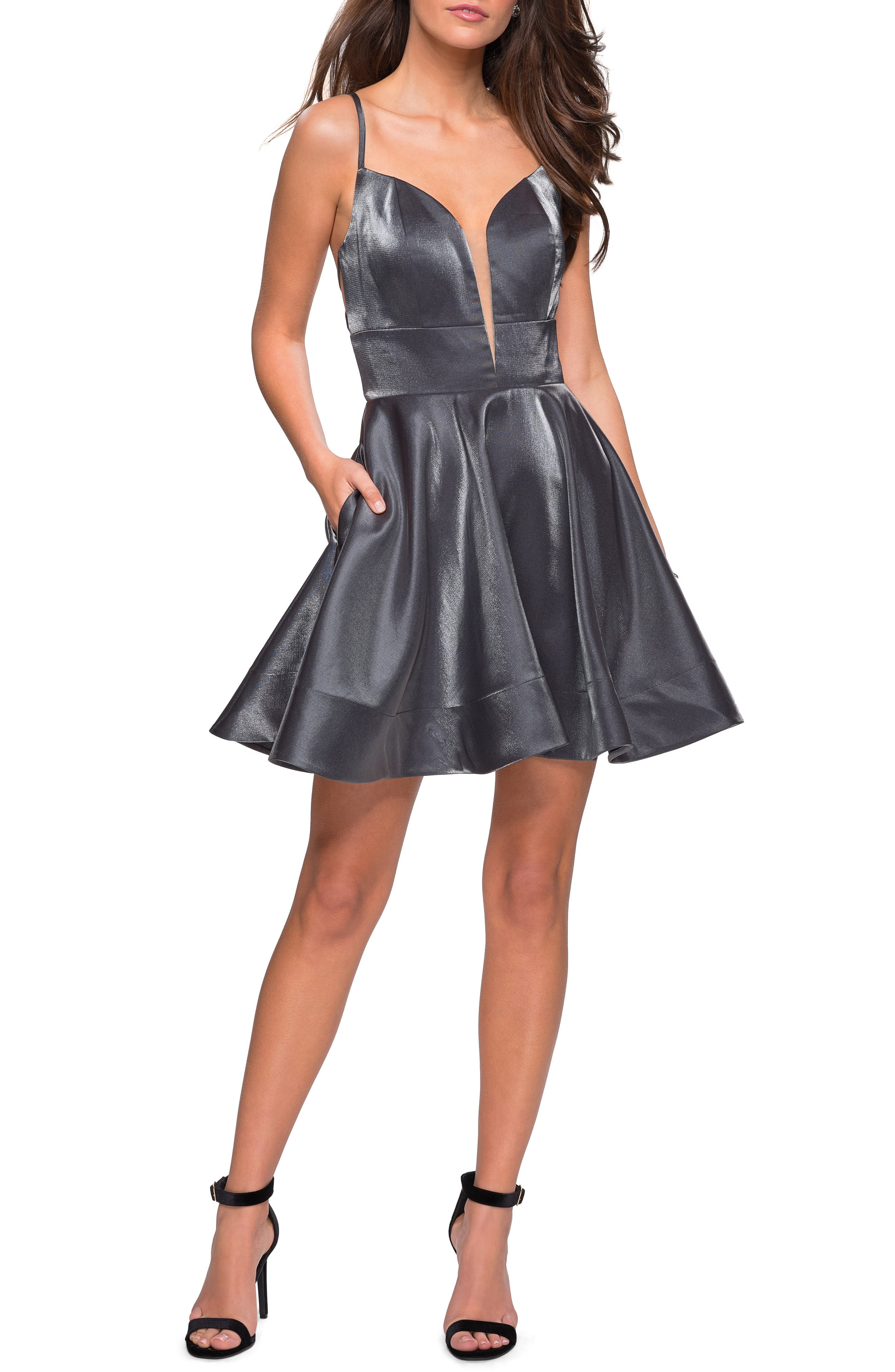 La Femme Satin Fit & Flare Dress, Grey