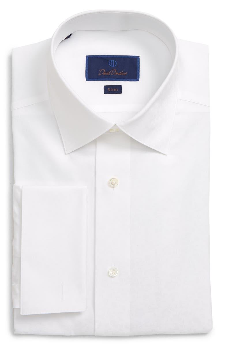 DAVID DONAHUE Slim Fit Tuxedo Shirt, Main, color, WHITE