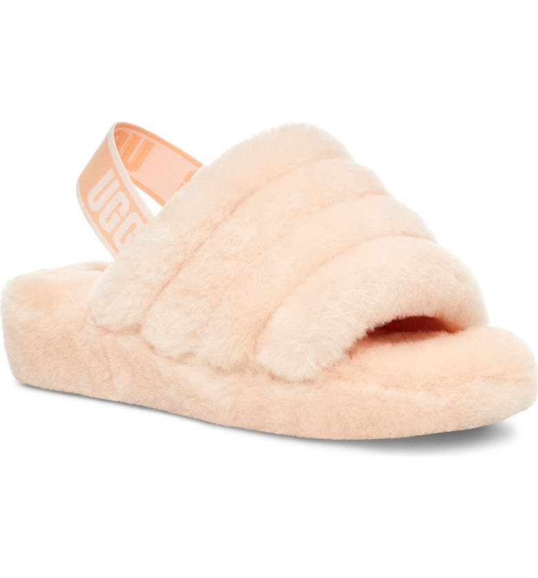 UGG<SUP>®</SUP> Fluff Yeah Genuine Shearling Slingback Sandal, Main, color, SCALLOP
