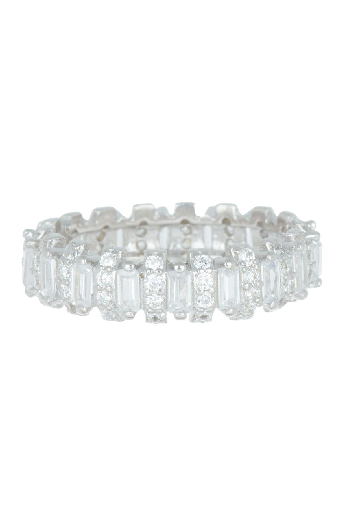 Image of Savvy Cie Rhodium Plated Sterling Silver CZ Eternity Band Ring
