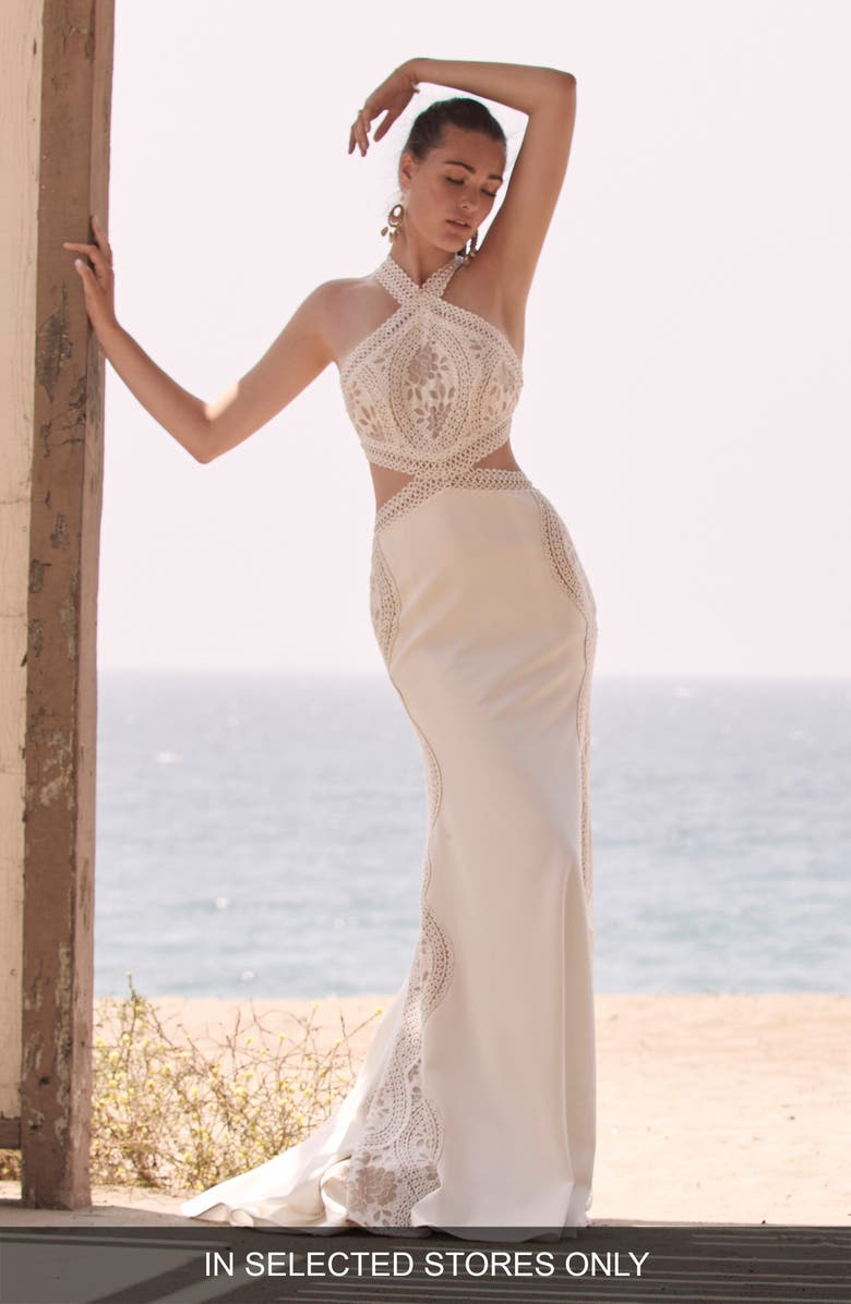 WILLOWBY Boyde Halter Lace & Crepe Wedding Dress, Main, color, IVORY