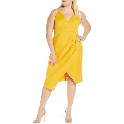 Plus Size Chi Chi London Curve Naima Ruched Asymmetrical Cocktail Dress, Yellow