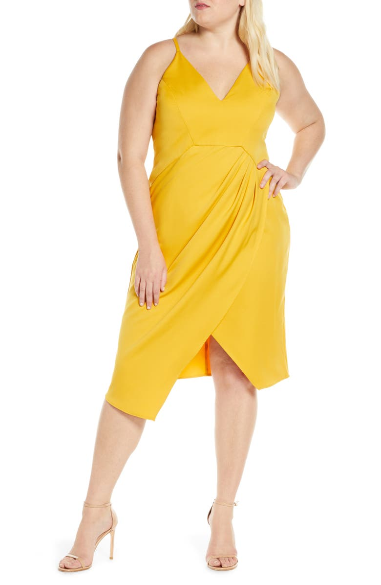 CHI CHI LONDON Curve Naima Ruched Asymmetrical Cocktail Dress, Main, color, YELLOW