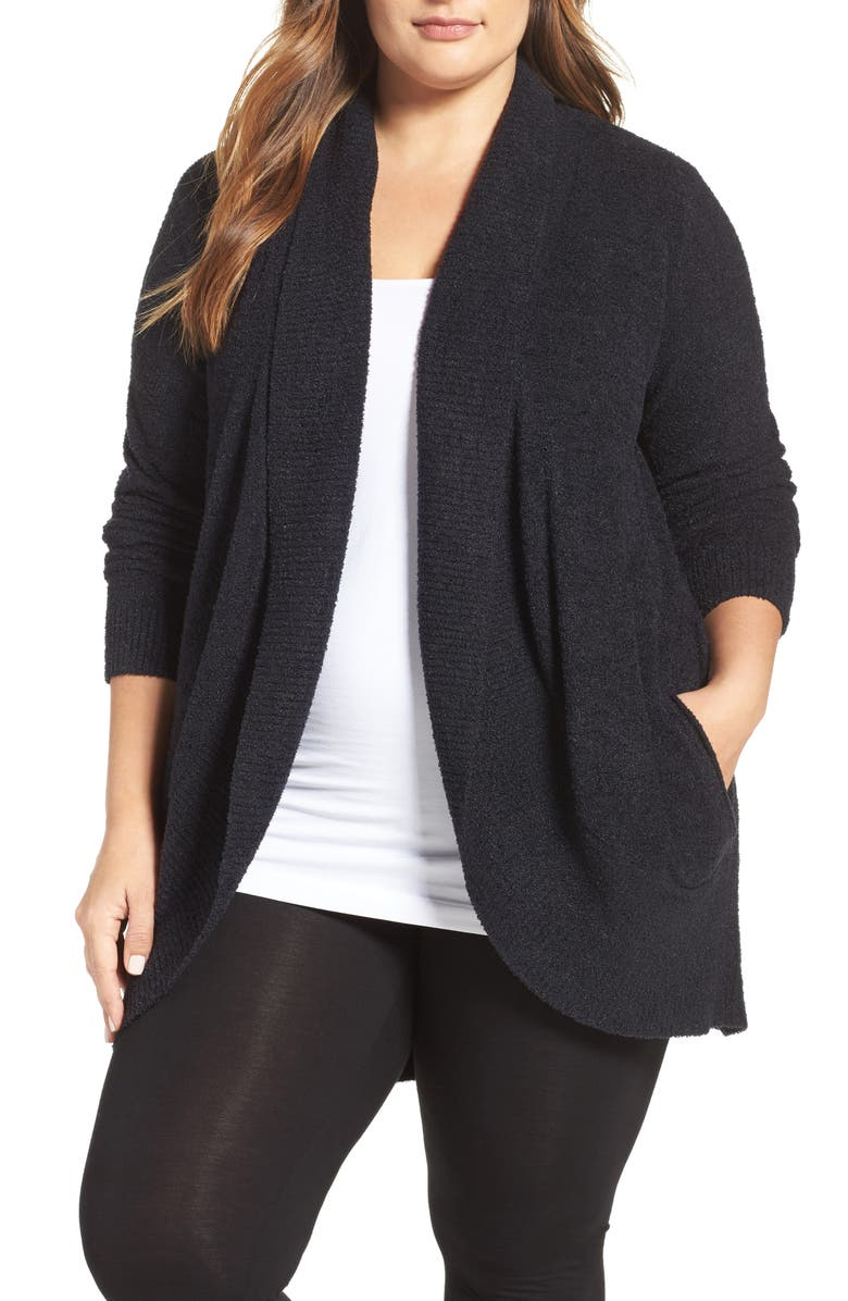 BAREFOOT DREAMS<SUP>®</SUP> CozyChic<sup>™</sup> Lite Circle Cardigan, Main, color, BLACK