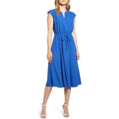Anne Klein Cap Sleeve Midi Dress, Blue