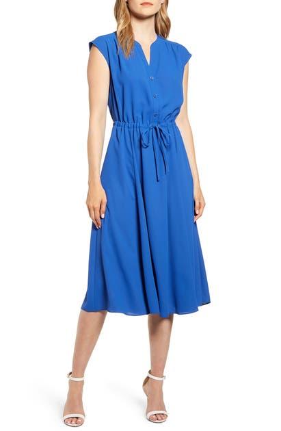 Anne Klein Cap Sleeve Midi Dress In Cezanne Blue