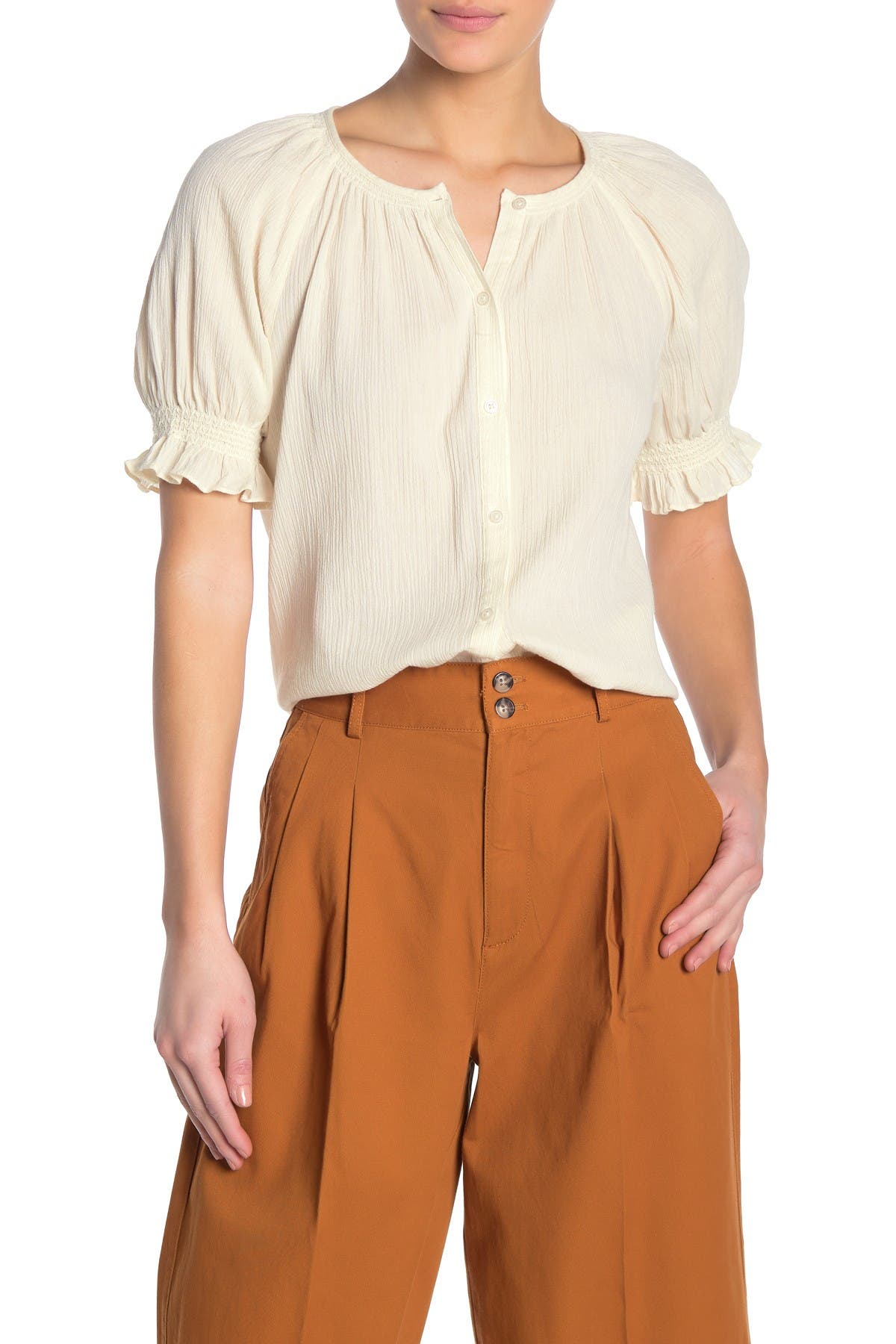 Image of Madewell Smocked Button Down Top