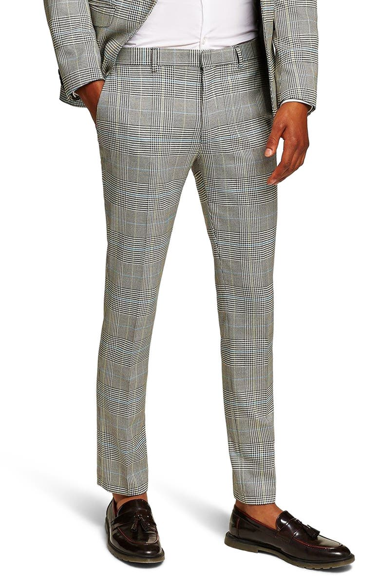 TOPMAN Skinny Fit Houndstooth Suit Trousers, Main, color, 020