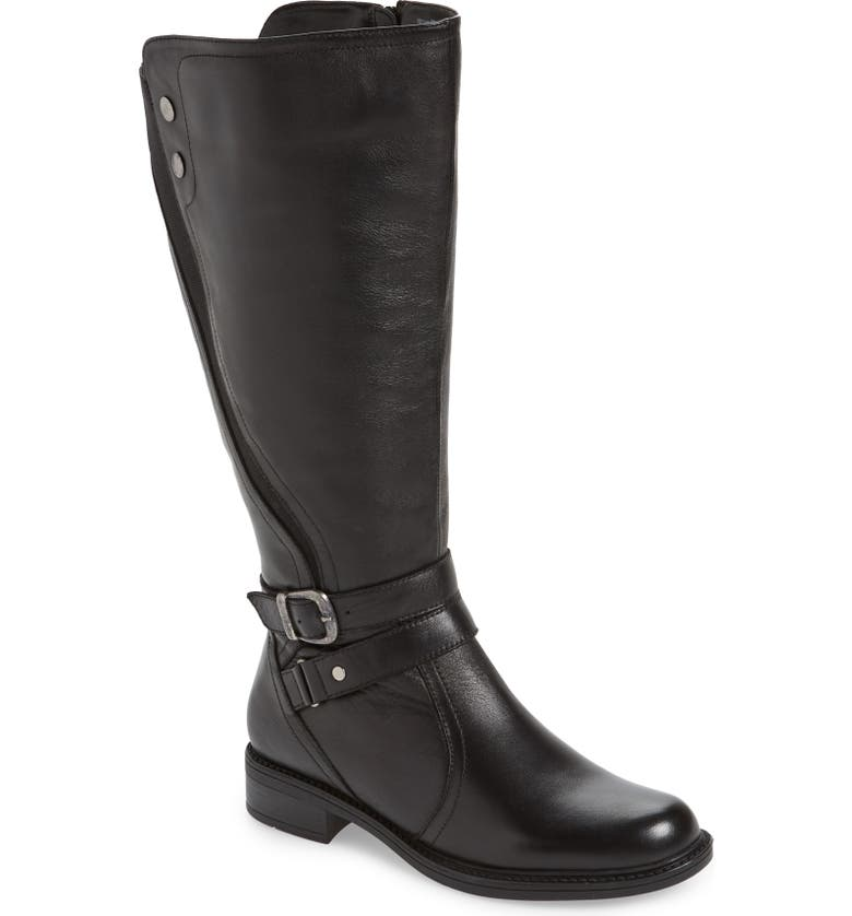 DAVID TATE Saratoga Knee High Boot, Main, color, BLACK LEATHER