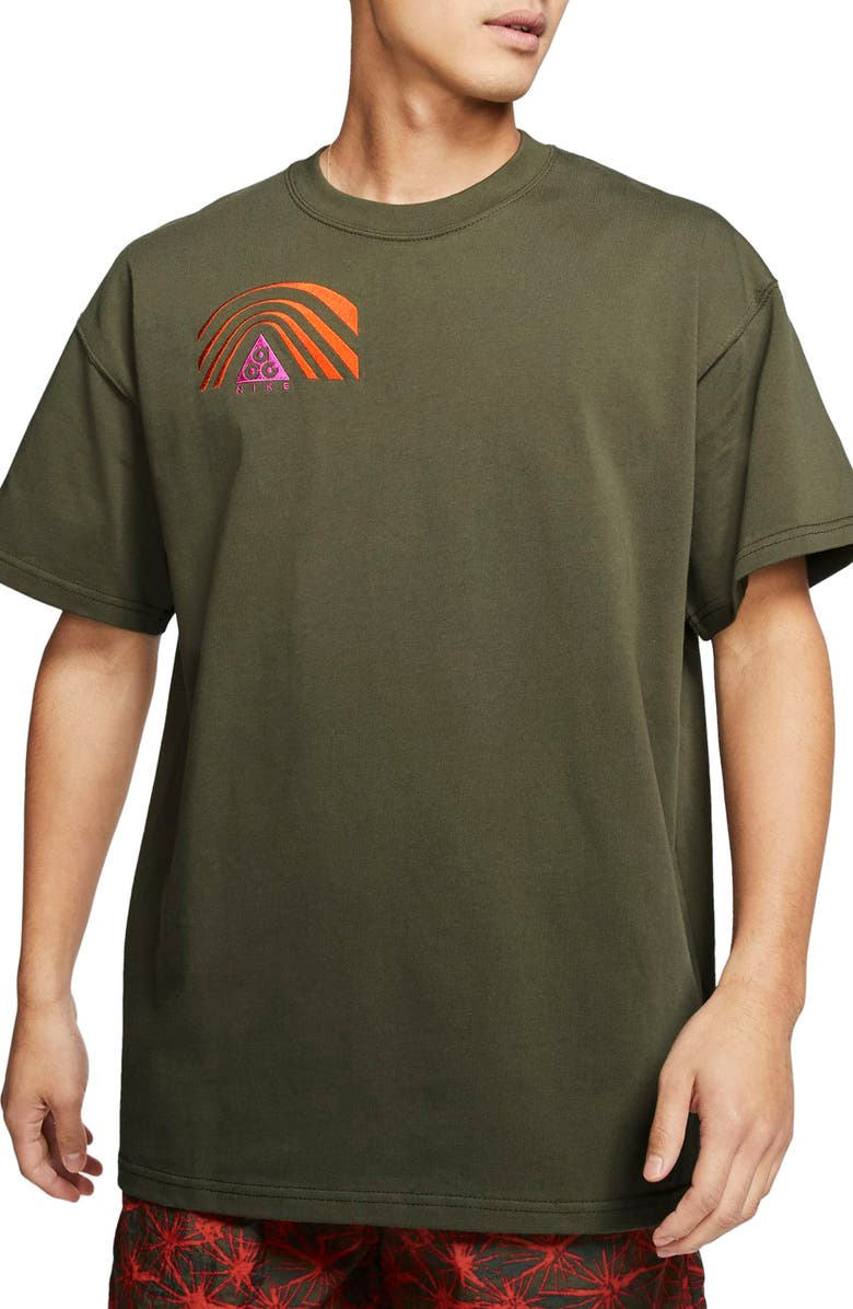 NIKE All Conditions Gear Outdoor Embroidered T-Shirt, Main, color, CARGO KHAKI/ ACTIVE FUCHSIA