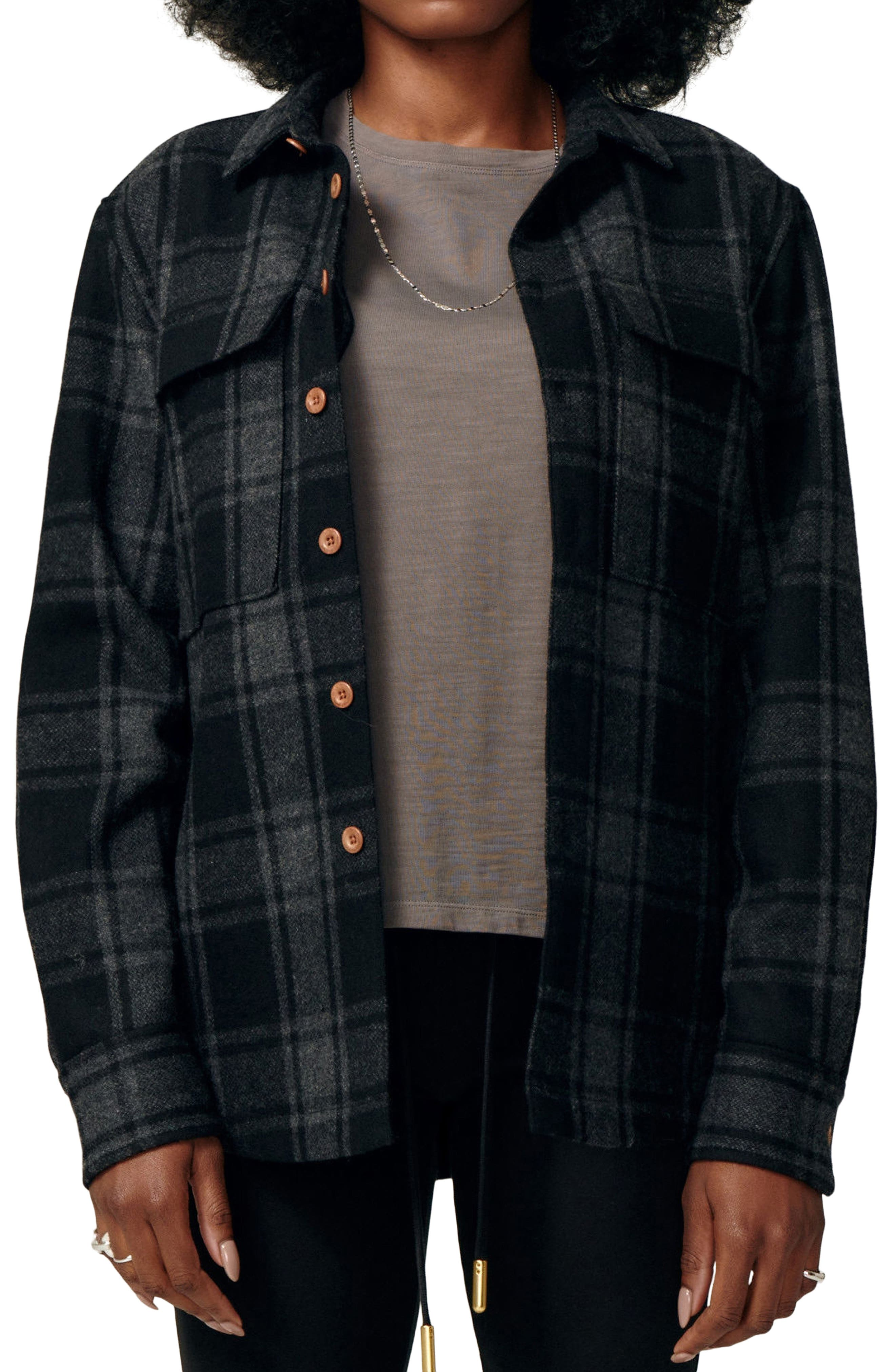Rooted Plaid Flannel Shirt Jacket