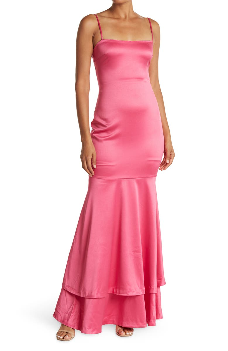 LIKELY Aurora Satin Trumpet Gown, Main, color, FUCHSIA