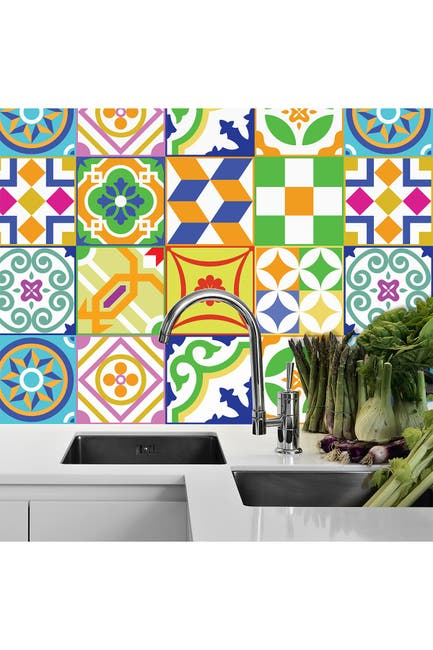 Image of WalPlus Classic Spanish Colorful Mixed Tiles Wall Stickers - 6 x 6 inches - 24 Pieces