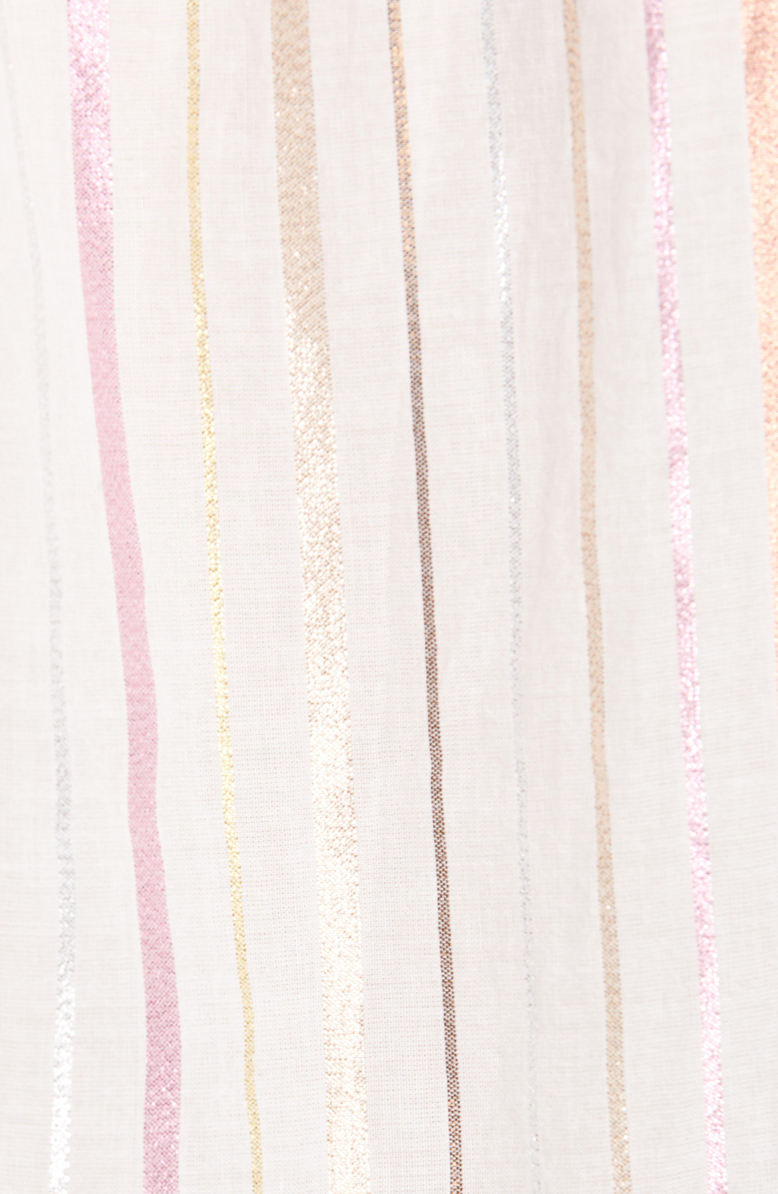 ,                             Satomi Shimmer Stripe Blouse,                             Alternate thumbnail 5, color,                             PORCELAIN