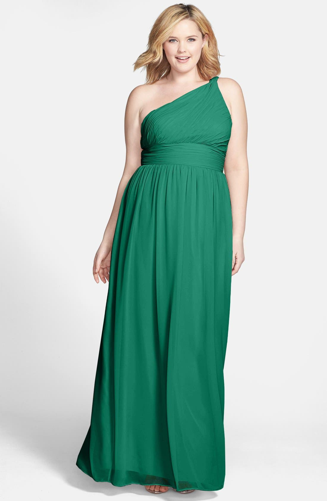 ,                             'Rachel' Ruched One-Shoulder Chiffon Gown,                             Alternate thumbnail 42, color,                             314